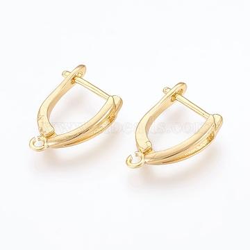 Boucles d'oreilles en laiton, or, 18.5x13x4mm, trou: 1.2 mm; broches: 1 mm(X-ZIRC-F088-057G)