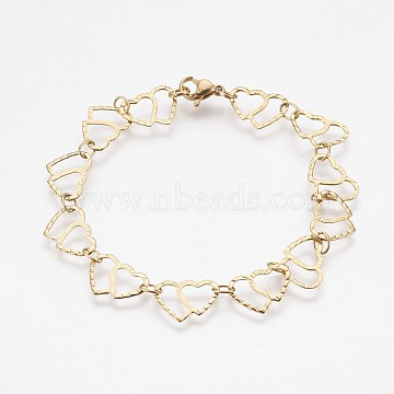 Vacuum Plating 304 Stainless Steel Chain Bracelets, with Lobster Claw Clasps, Heart, Golden, 7-5/8 inches(19.5cm)(BJEW-P236-06G)