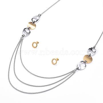 304 Stainless Steel Jewelry Sets, Tiered Necklaces and Stud Earrings, Golden & Stainless Steel Color, 17.7''(450mm); 13.5x1.5mm; Pin: 0.8mm(SJEW-P125-15P)