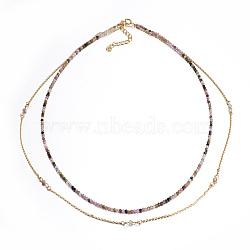colliers à facettes en tourmaline naturelle, colliers en couches, avec les résultats en laiton, 16.5 (42 cm)(NJEW-F212-06A)