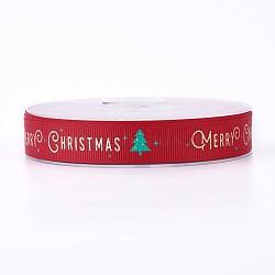 Ruban polyester grosgrain pour Noël, arbres de Noël, rouge, 16 mm; environ 100 mètres / rouleau(SRIB-P013-A02)