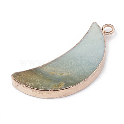 Pendentifs en amazonite naturelle, avec les accessoires en métal, teint, lune, 45~46x20x5.5~7mm, Trou: 3mm(X-G-S329-014B)