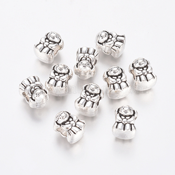 Alloy European Beads, Large Hole Beads, Girl, Antique Silver, 13.5x10x9.5mm, Hole: 5mm(MPDL-L028-37AS)