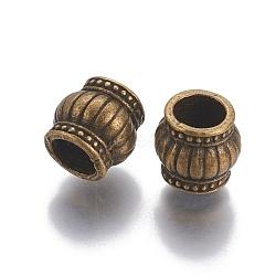 perles d'alliage, tambour, bronze antique, 9x9 mm, trou: 5.5 mm(PALLOY-E534-17AB)