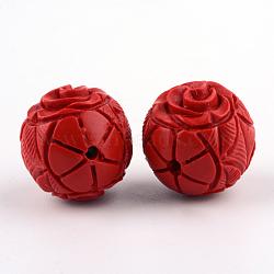 Carved Flower Cinnabar Beads, Round, FireBrick, 19.5x20x19.5mm, Hole: 2mm(CARL-Q004-85)