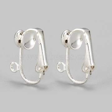 Iron Clip-on Earring Findingsfor Non-Pierced Ears, Silver Color Plated, about 13.5mm wide, 15.5mm long, 7mm thick, Hole: about 1.2mm(X-EC141-S)