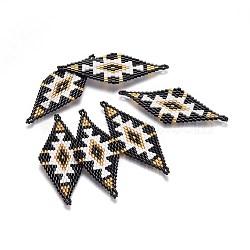 MIYUKI® & TOHO® connecteurs japonaises en perles rocailles manuells, motif de tissage, losange, noir, 60~61x24.5~25x1.7mm, Trou: 1.6mm(SEED-A029-AC17)