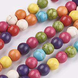 """1 rondes brin synthétique turquoise perles brins, teint, couleur mixte, 8mm, trou: 1mm; environ 50 pcs/chapelet, 15.9"""", 29 chapelets / kg(X-TURQ-D039-M)"""