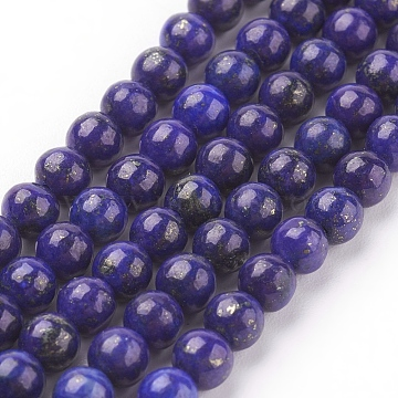 Natural Lapis Lazuli Beads Strands, Dyed, Round, Blue, 4mm, Hole: 1mm; about 44pcs/strand, 7.6inches(X-G-G087-4mm)