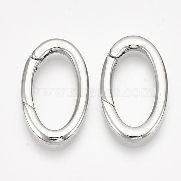 304 Stainless Steel Spring Gate Rings, Oval Rings, Stainless Steel Color, 9 Gauge, 28x16x3mm; Inner Diameter: 21x10mm(X-STAS-S079-87)