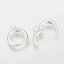 Silver Brass Huggie Hoop Earring Findings(X-KK-Q675-52S)