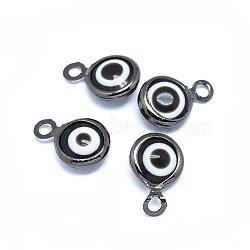 Breloques vernissées de mauvais œil manuelles, avec les accessoires en laiton, plat rond, noir, gunmetal, 10x6.5x3mm, Trou: 1.5mm(KK-F764-13B-01)