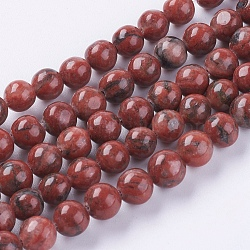 jaspe de sésame naturel / perles de jaspe kiwi, arrondir, 6 mm, trou: 1 mm(X-G-G149-6mm-2)