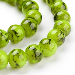 "Perles en verre d'effilage, rond, greenyellow, 8 mm; trou: 1.3~1.6 mm; environ 100 pcs / brin, 31.4""(X-GLAD-S075-8mm-29)"