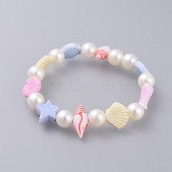 """Bracelets extensibles pour enfants, avec perle acrylique imitée et perles acryliques colorées, colorées, 1-3/4"""" (4.4 cm)(BJEW-JB04571-02)"""