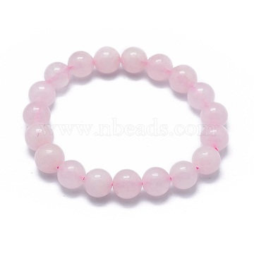 Natural Rose Quartz Bead Stretch Bracelets, Round, Dyed, 2 inches~2-1/8 inches(5.2~5.5cm), Bead: 10mm(X-BJEW-K212-C-045)