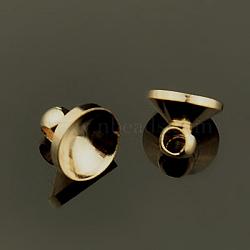 bails pendentif en laiton, pour les pendants de couverture de bulle de verre de globe, voile, le couvercle, or et de lumière, 8x6 mm, trou: 1 mm(KK-E446-02)