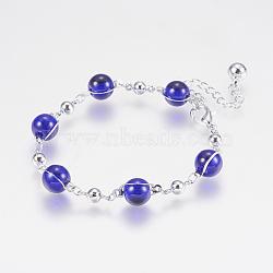 """Verre perles rondes bracelets, avec les accessoires en fer, et fermoirs pince de homard, Plaqué longue durée, rond, platine, bleu, 6-7/8"""" (175 mm)(BJEW-F298-02B)"""