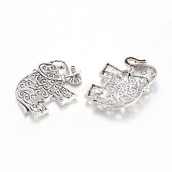 Alliage de style tibétain éléphant creuse grandes pendentifs, sans plomb et sans cadmium, argent antique, 61x47x4mm, Trou: 3mm