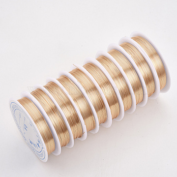 Copper Jewelry Wire, Long-Lasting Plated, Light Gold, 20 Gauge, 0.8mm, about 9.84 Feet(3m)/roll(X-CWIR-Q006-0.8mm-KC)