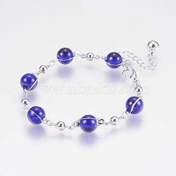 Glass Round Beads Bracelets, with Iron Findings, and Lobster Claw Clasps, Long-Lasting Plated, Round, Platinum, Blue, 6-7/8inches(175mm)(BJEW-F298-02B)