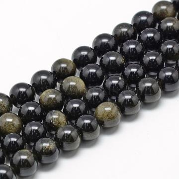 12mm Round Golden Sheen Obsidian Beads