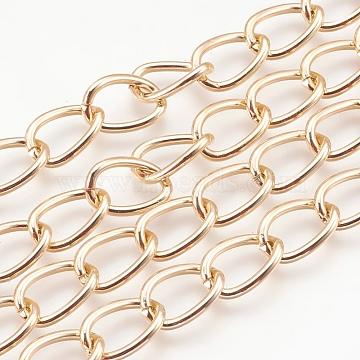Decorative Chain Aluminium Twisted Chains Curb Chains, Unwelded, Golden, 15x10x2mm(CHA-M001-16)