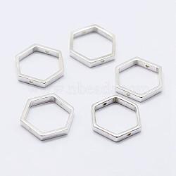925 monture de perles en argent sterling, hexagone, argenterie, 12x13.5x2mm, trou: 0.8 mm; intérieure: 10x11 mm(STER-F036-12S-13.5x12)