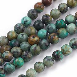 """Chapelets de perles en turquoise africaine naturelle, rond, 6mm, trou: 1mm; environ 60 pcs/chapelet, 15.5""""(TURQ-G037-6mm)"""