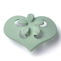 Boutons en acrylique, caoutchouté, 1-trou, coeur avec fleur, vert de l'océan profond, 41.5x31x15.5mm, Trou: 4mm(MACR-T024-09E)