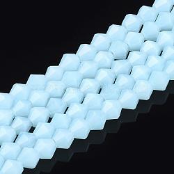 """Chapelets de perles en verre imitation jade, facette, Toupie, lightcyan, 4.5x4mm, trou: 1mm; environ 105~116 pcs/chapelet, 14.96""""~17.9""""(X-GLAA-Q080-4mm-A02)"""