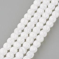 Синтетический хрустят кварц бисер пряди, круглые, окрашенные, снег, 8 мм, Отверстие : 1 мм; около 50 шт / нитка, 15.7''(GLAA-S134-8mm-05)