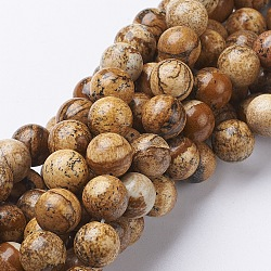 """Chapelets de perles en pierre gemme naturelle, jaspe, rond, 10mm, trou: 1mm; environ 37~39 pcs/chapelet, 15.5""""(X-GSR10mmC016)"""