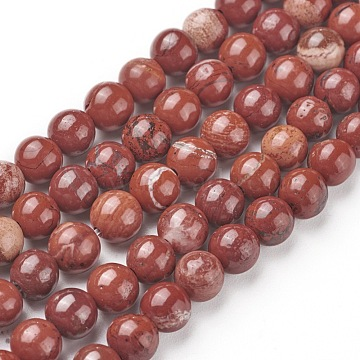 Natural Red Jasper Beads Strands, Round, Grade AB, Red, 6mm, Hole: 1mm, about 60pcs/strand, 15.5 inches(X-G-F348-02-6mm)