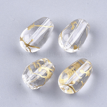 Drawbench Glass Beads, teardrop, Clear, 13x8mm, Hole: 1mm(X-GLAD-T001-01B-08)
