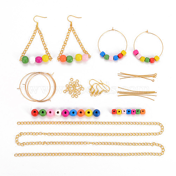 DIY Earrings Making, with Wood Beads, Brass Jump Rings, Eye Pins, Head Pins, Earring Hooks, Iron Twisted Chains, 304 Stainless Steel Wine Glass Charms Rings, Golden, Mixed Color(DIY-JP0003-59G)