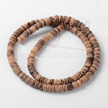 Natural Coconut Rondelle Bead Strands, 5.5x1.5~5mm, Hole: 1mm, about 124pcs/strand, 15.7 inches(X-COCB-O001-11)