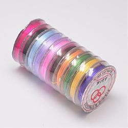 Flat Elastic Crystal String, Elastic Beading Thread, for Stretch Bracelet Making, Colorful, 0.8mm; 10m/roll(EW-O001-02J)