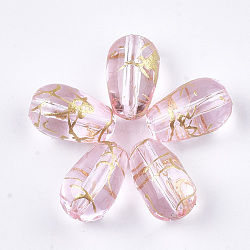 perles de verre drawbench, déposer, rose, 13x8 mm, trou: 1 mm(GLAD-T001-01B-07)