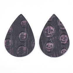 gros pendentifs en cuir pu, tomber avec le crâne, palevioletred, 56x37x1.5 mm, trou: 1.5 mm(X-FIND-T020-080F)