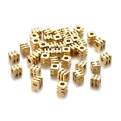 Brass Spacer Beads, Long-lasting Plated, Grooved Cube, Golden, 4x4x4mm, Hole: 1.8mm(X-KK-K249-02D-G)