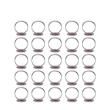 PandaHall Elite Brass Pad Ring Bases, Adjustable, Silver, Size: 7; 14mm(KK-PH0001-15S)