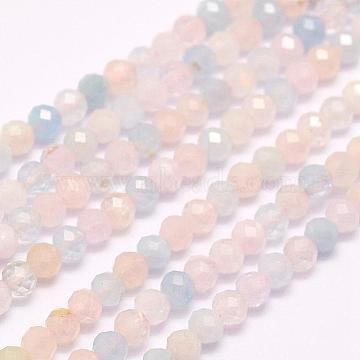 Natural Morganite Beads Strands, Faceted, Round, 2mm, Hole: 0.5mm; about 210~220pcs/strand, 15.7inches(40cm)(G-F509-08-2mm)
