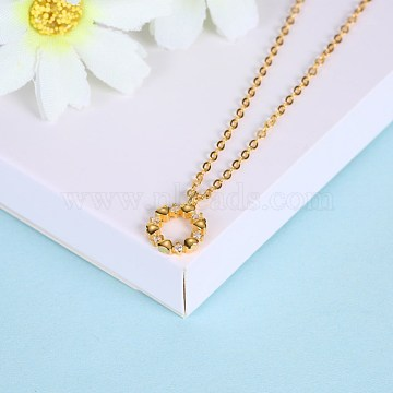 Fashion Sterling Silver Pendant Necklaces, Ring, Golden, 15.75 inches(40cm)(NJEW-BB28836-C)