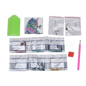 DIY Diamond Painting Stickers Kits For Plastic Mirror Making, with Glass, Resin Rhinestones, Diamond Sticky Pen, Tray Plate and Glue Clay, Rectangle with Cat Pattern, Mixed Color, 69x70x10mm(DIY-F059-40)