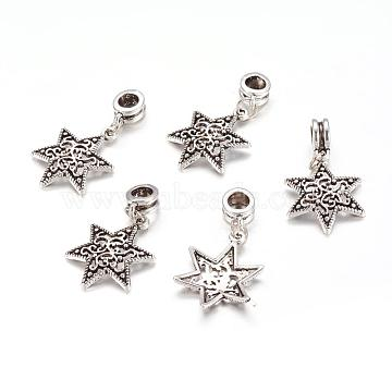 Alloy European Dangle Beads, Star, Antique Silver, 35mm, Hole: 5mm(X-PALLOY-JF00001-17)