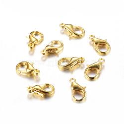 Agrafes de accessoires de bijoux en alliage de zinc d'or homard griffes, 14x8mm, Trou: 1.5mm(X-E105-G)