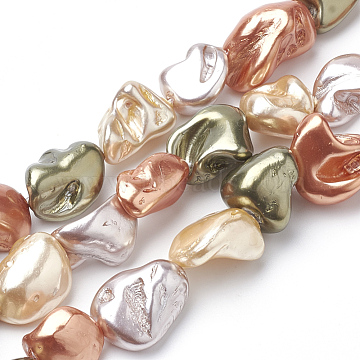 Shell Pearl Beads Strands, Nuggets, Colorful, 15~26x10~20x8~15mm, Hole: 0.8mm, about 20~25pcs/strand, 15.7 inches(X-PEAR-Q008-12A)