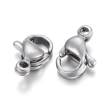 304 Stainless Steel Lobster Claw Clasps, Parrot Trigger Clasps, Stainless Steel Color, 9x6x3mm, Hole: 1mm(X-STAS-F182-01P-F)