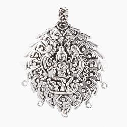 Composants de lustre en alliage de style tibétain, ovale, argent antique, 70.5x55~56x8mm, trou: 2 mm; diamètre intérieur: 5.5 mm(PALLOY-E460-19AS)